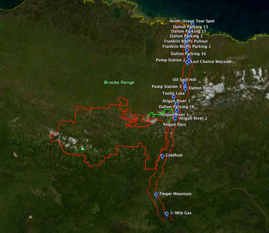 Bluff Alaska Map.Dalton Highway Haul Road Corridor Map For Gps And Google Earth